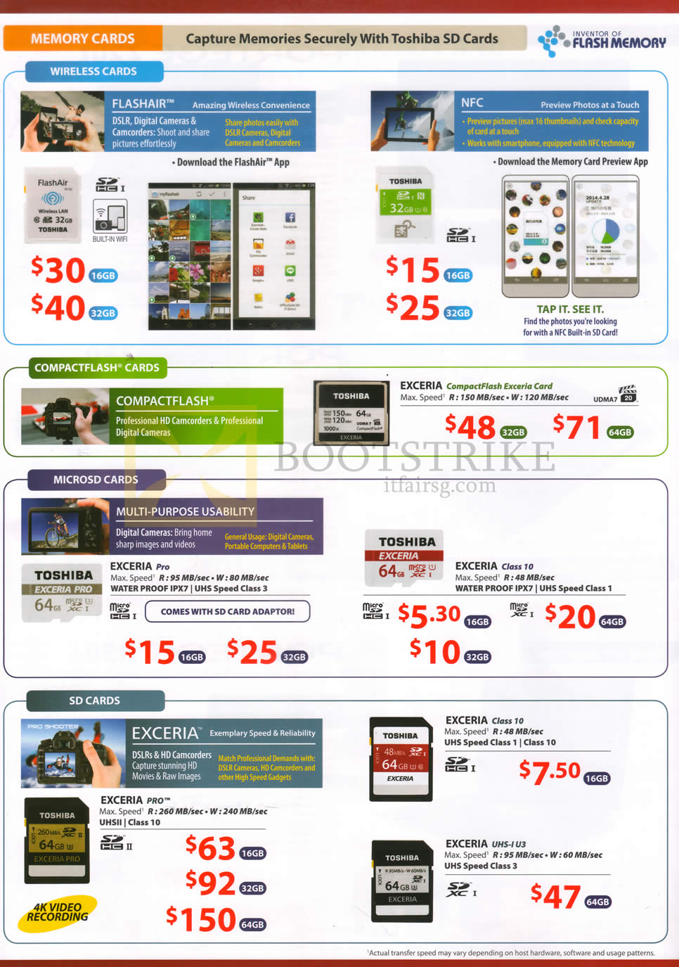 PC SHOW 2016 price list image brochure of Toshiba Wireless Cards, Compactflash Cards, MicroSD Cards, SD Cards FlashAir, NFC, Exceria, Exceria Pro