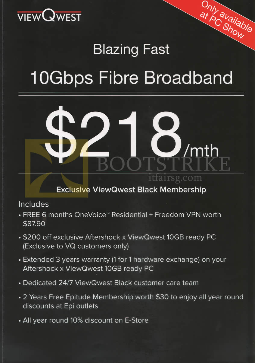 PC SHOW 2016 price list image brochure of Viewqwest Fibre Broadband 10Gbps 218.00