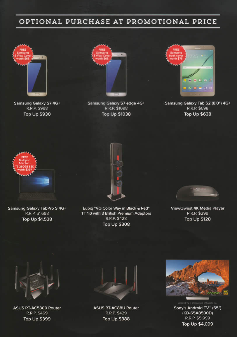 PC SHOW 2016 price list image brochure of Viewqwest Samsung Galaxy S7, S7 Edge, Tab S2 8.0, TabPro S, Eubiq VQ Color Way, 4K Media Player, Asus RT-AC5300, AC88U Router, Sony KD-65X8500D TV
