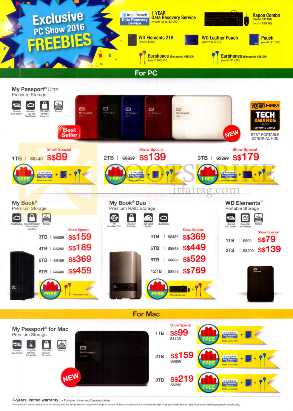 PC SHOW 2016 price list image brochure of Western Digital External Hard Disk Drives My Passport Ultra, My Book, Duo, Elements, My Passport For Mac, 1TB, 2TB, 3TB, 4TB, 6TB, 8TB, 12TB