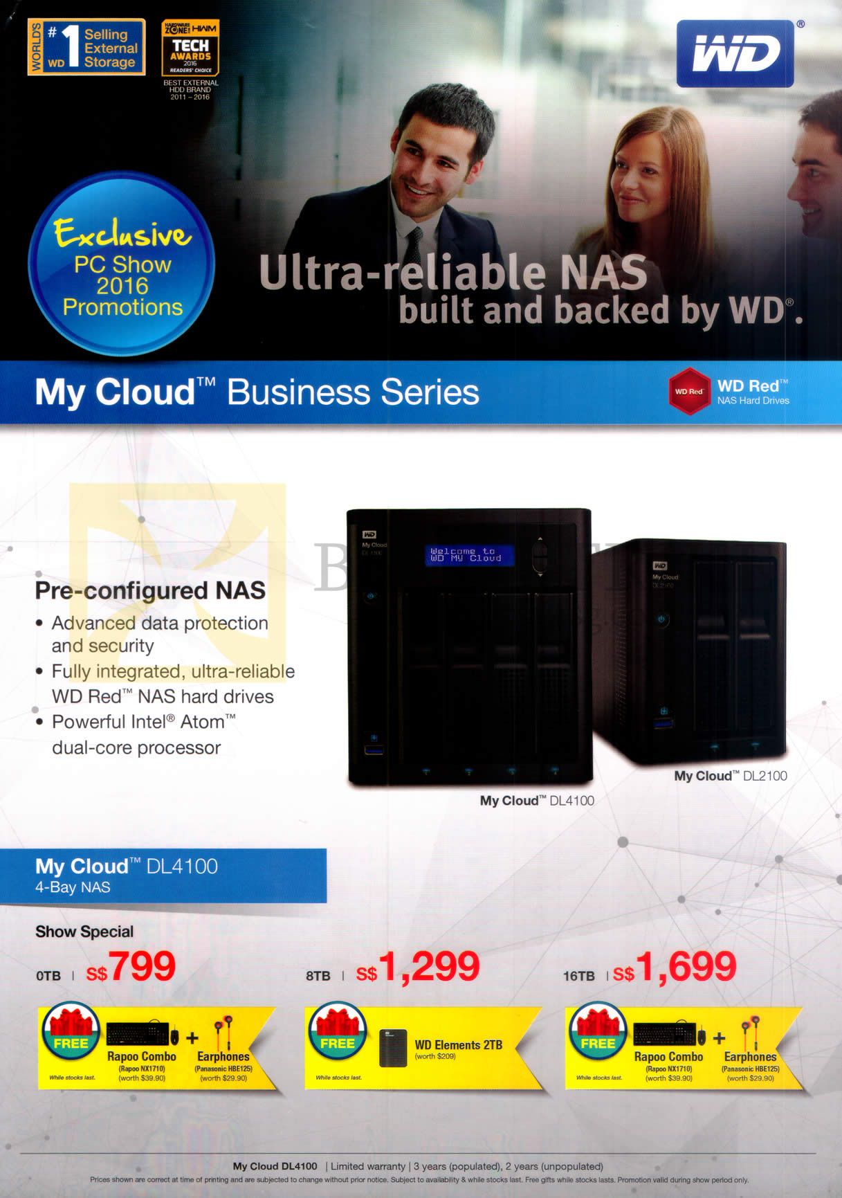 PC SHOW 2016 price list image brochure of Western Digital My Cloud NAS Business Series 0TB, 8TB, 16TB