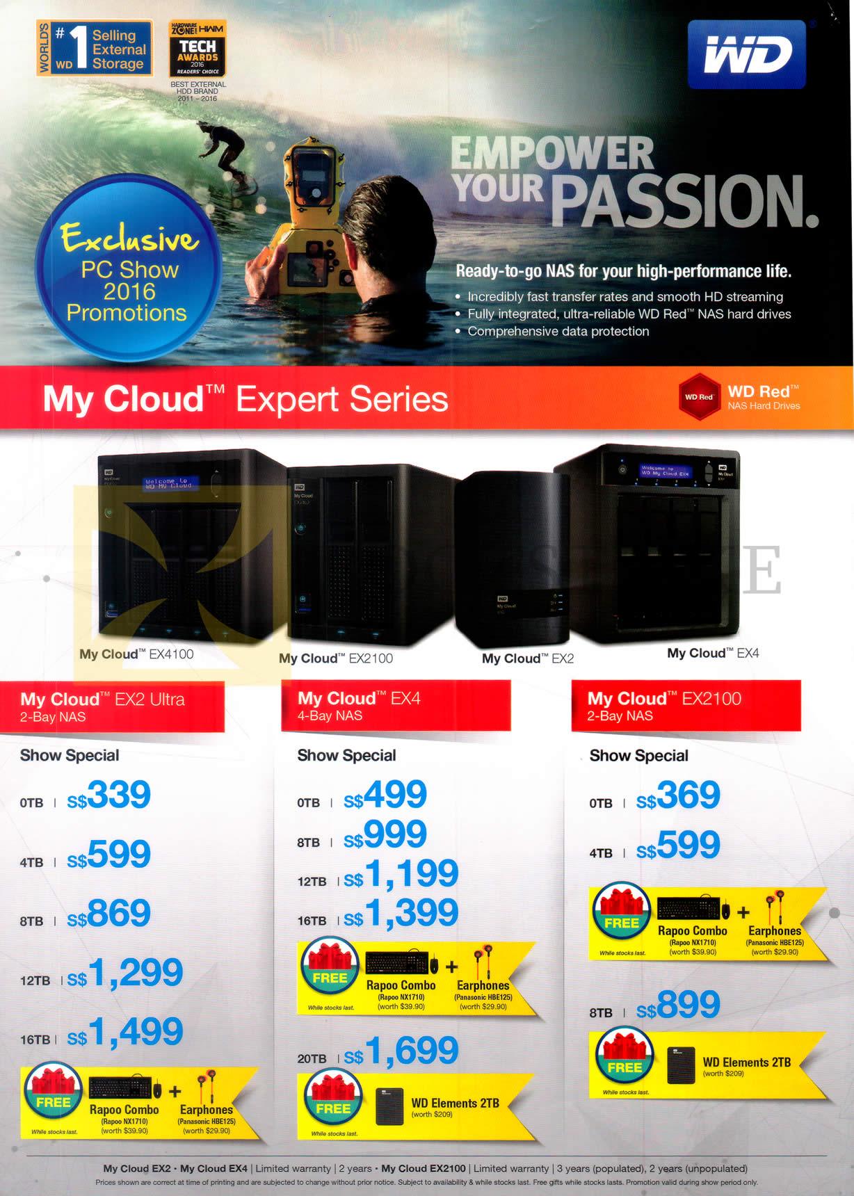 PC SHOW 2016 price list image brochure of Western Digital NAS Storage My Cloud Expert Series EX2 Ultra, EX4, EX2100, 0TB, 4TB, 8TB, 12TB, 16TB, 20TB