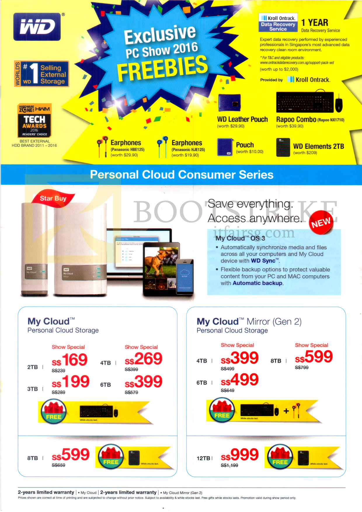 PC SHOW 2016 price list image brochure of Western Digital Personal Cloud Consumer Services My Cloud OS3, Personal Cloud Storage, Mirror Gen 2
