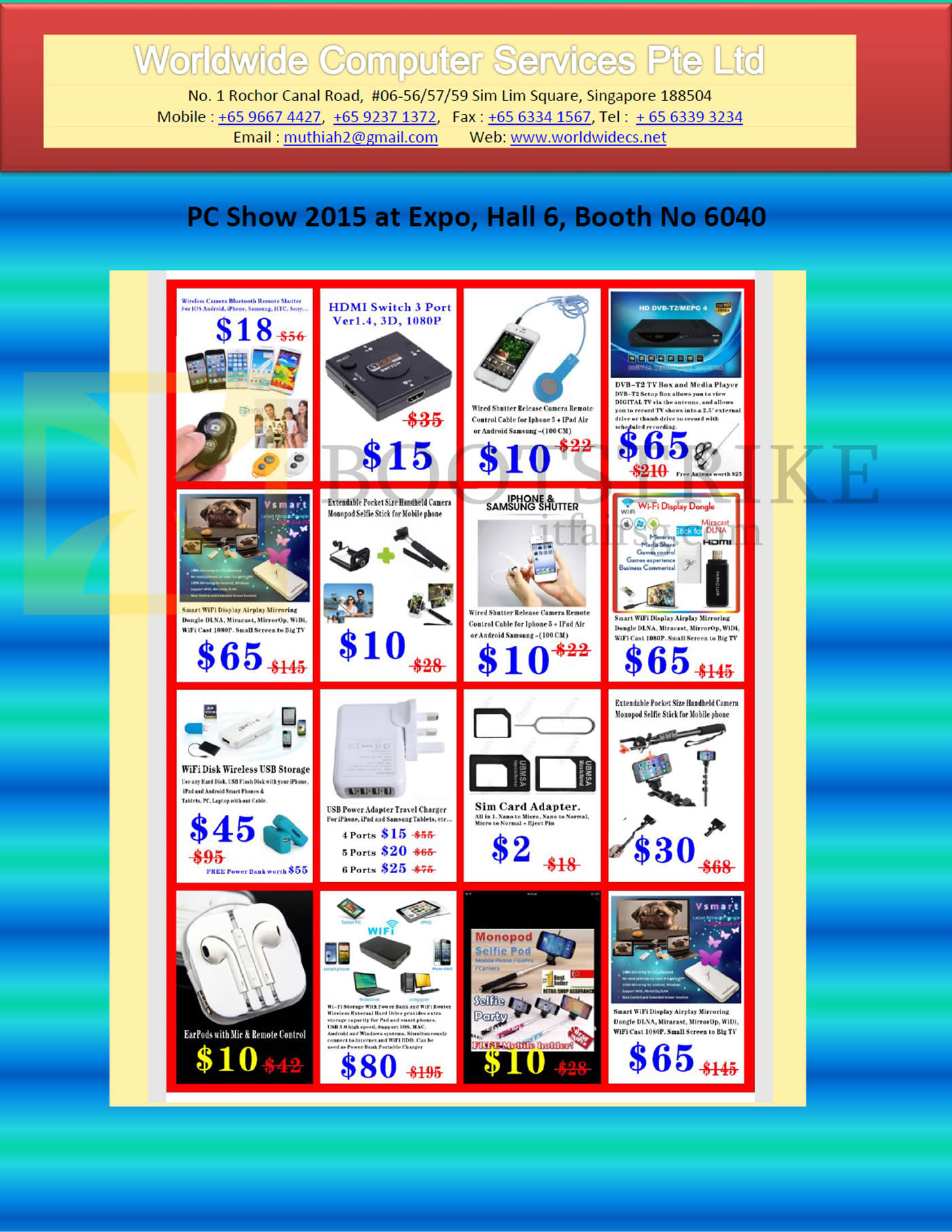 PC SHOW 2016 price list image brochure of Worldwide Computer Services Accessores HDMI Switch 3 Port, DVB-T2 TV Box, Iphone Shutter, Sim Card Adapter, Wifi Disk Wireless USB Storage, Wifi Display Dongle
