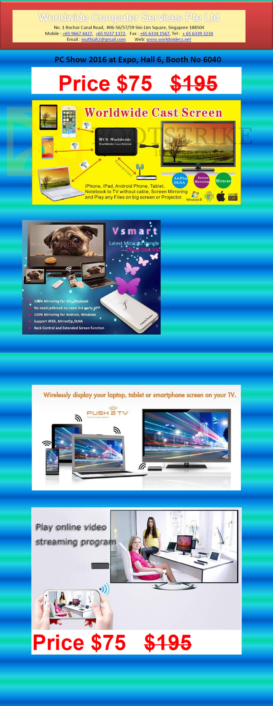 PC SHOW 2016 price list image brochure of Worldwide Computer Services Cast Screen Vsmart Dongle