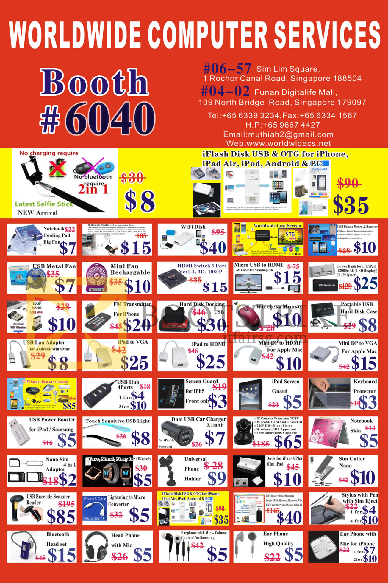 PC SHOW 2016 price list image brochure of Worldwide Computer Services Featured Offers, Accessories, USB, Cables, Charges, Adapters, Earphones