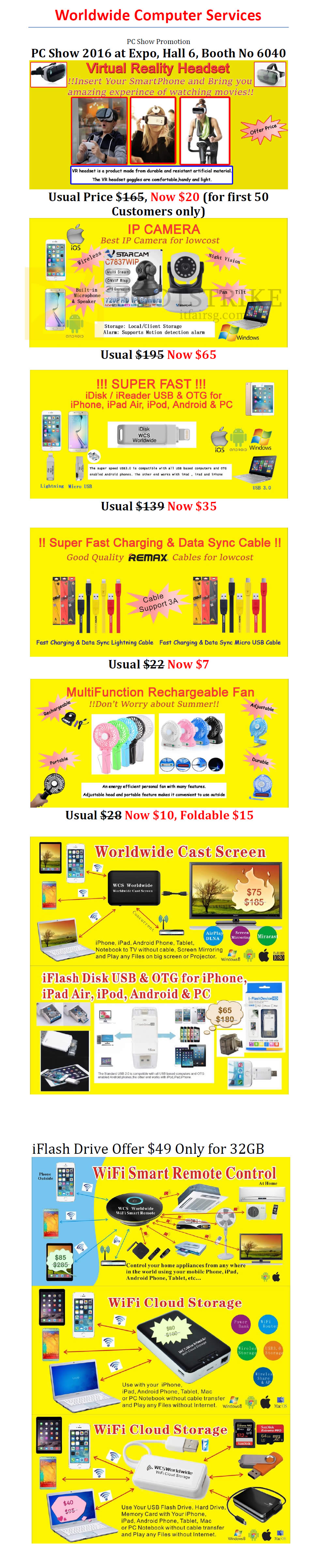 PC SHOW 2016 price list image brochure of Worldwide Computer Services Virtual Reality Headset, IP Camera, Data Sync Cable, Rechargeable Fan, Cast Screen, Wifi Remote Control, Wifi Cloud Storage