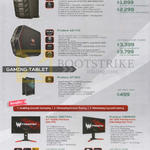 Acer Gaming Desktops, Tablets, Monitors, Predator G3-710, G6-710, GT-810, XB271HU, XB281HK