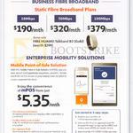 Business Static Fibre Broadband Plans, Enterprise Mobility Solutions, 190.00 10Mbps, 320.00 50Mbps, 379.00 100Mbps