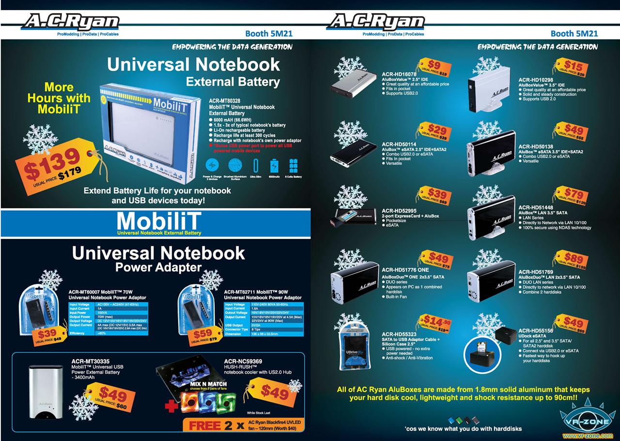Sitex 2008 price list image brochure of AC Ryan SITEX 2