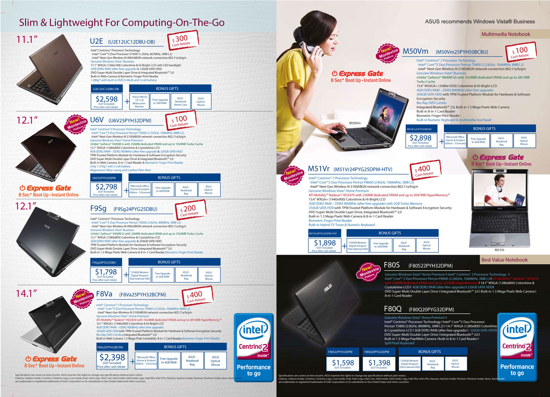 Sitex 2008 price list image brochure of ASUS Notebooks Sitex Back Page