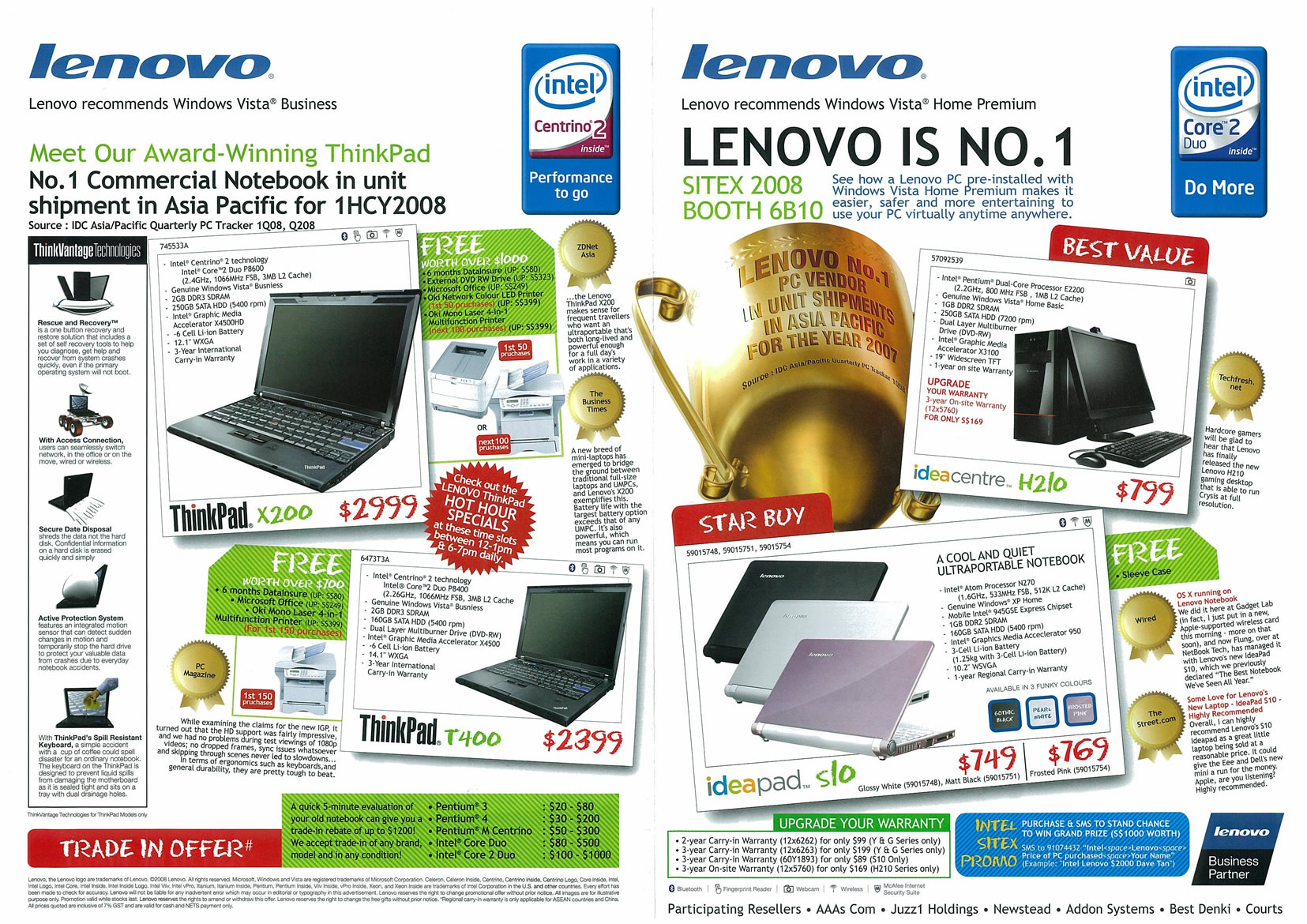Sitex 2008 price list image brochure of Lenovo Notebooks Page 1 - Vr-zone Tclong