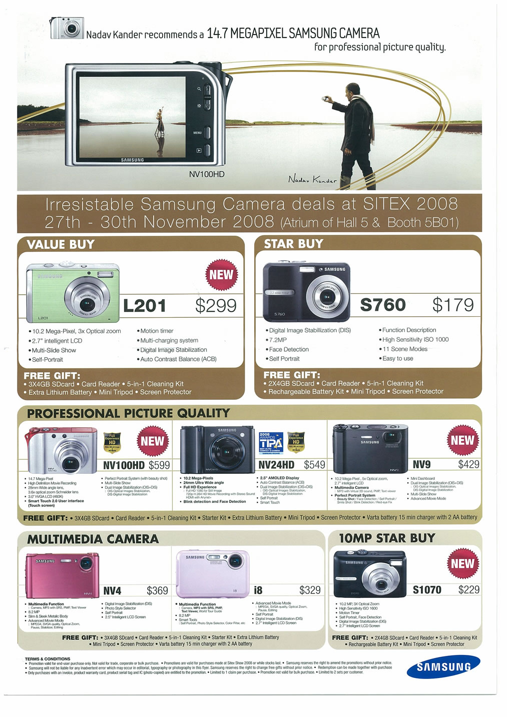 Sitex 2008 price list image brochure of Samsung Cameras Camcorders Page 1 - Vr-zone Tclong
