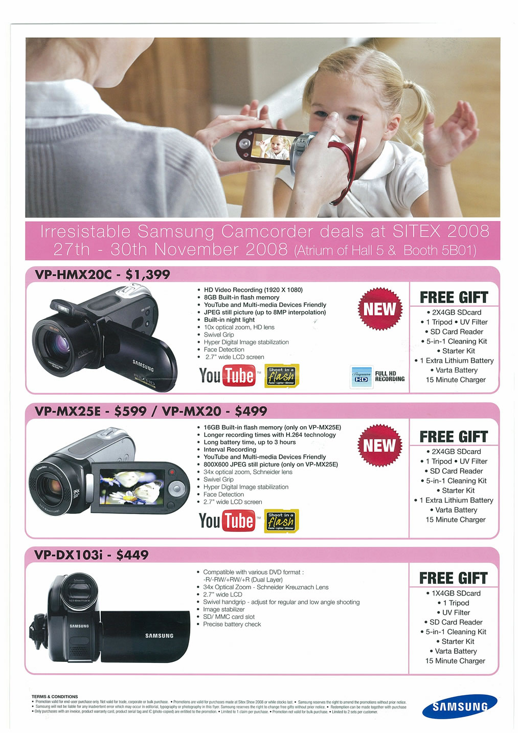 Sitex 2008 price list image brochure of Samsung Cameras Camcorders Page 2 - Vr-zone Tclong
