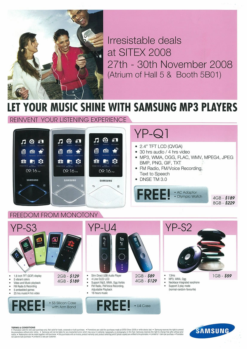 Sitex 2008 price list image brochure of Samsung MP3 Players - Vr-zone Tclong