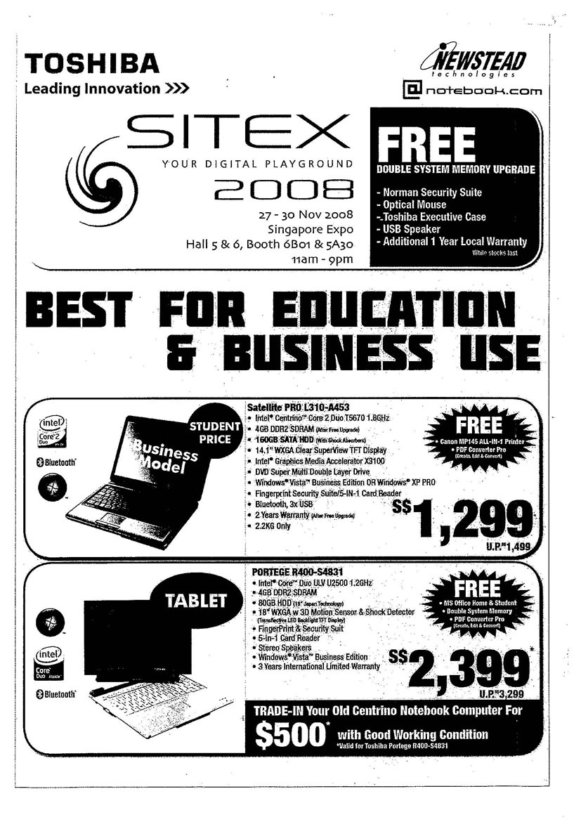 Sitex 2008 price list image brochure of Toshiba Notebooks 03 Page 1 - Vr-zone Tclong