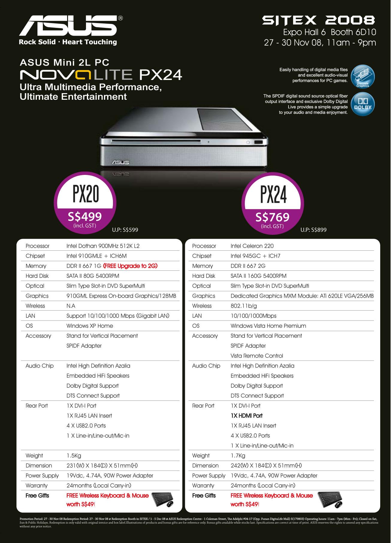 Sitex 2008 price list image brochure of Asus Mini 2l Pc Nova Lite SITEX08 Nova LR