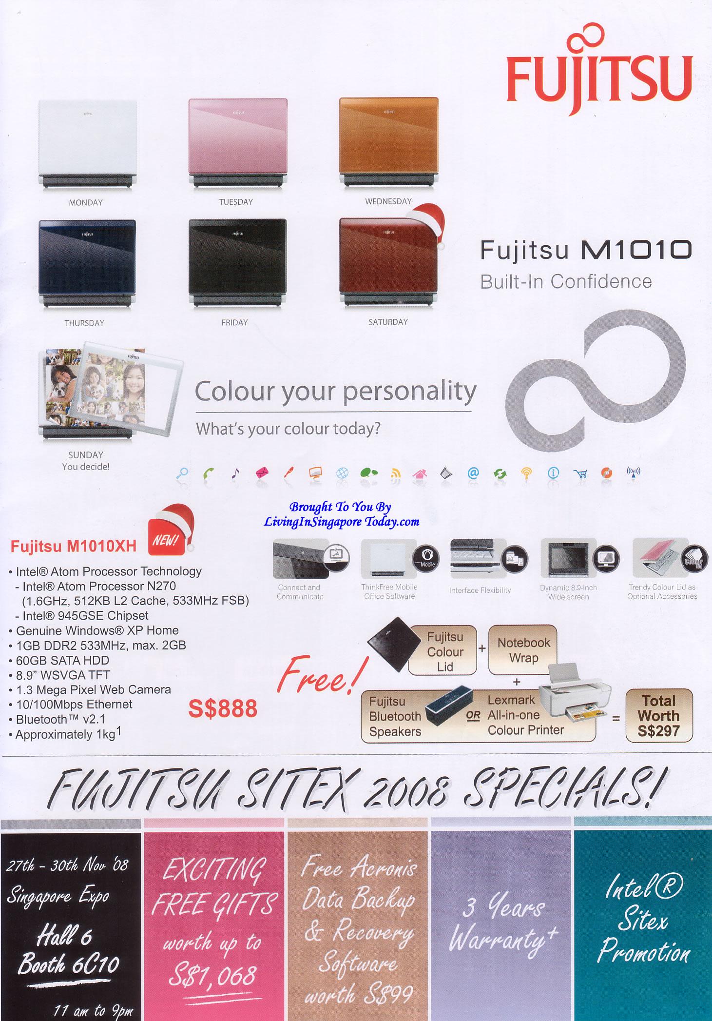 Sitex 2008 price list image brochure of Fujitsu M1010