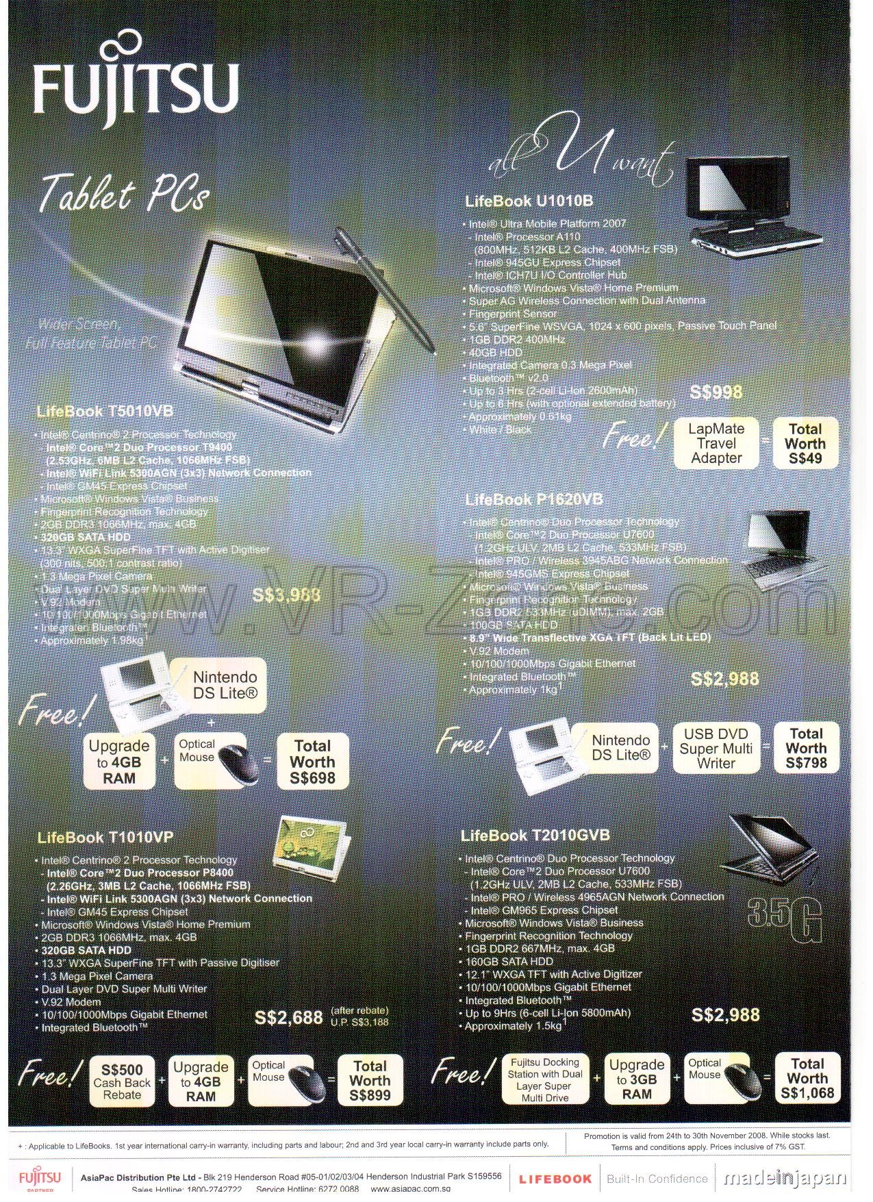 Sitex 2008 price list image brochure of Fujitsu Tablet Lifebook Notebooks 3