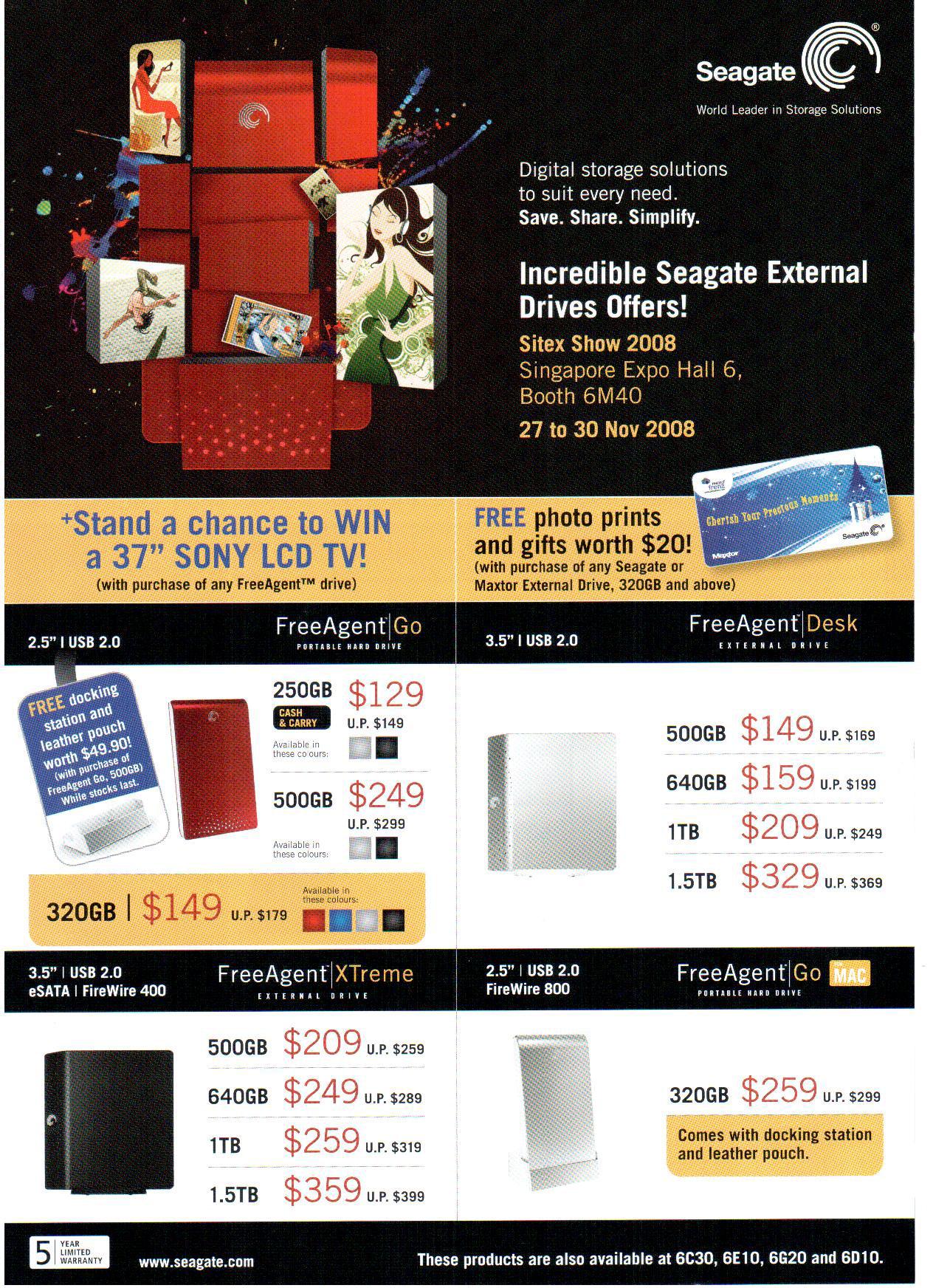 Sitex 2008 price list image brochure of Maxtor External Hard Drives 2