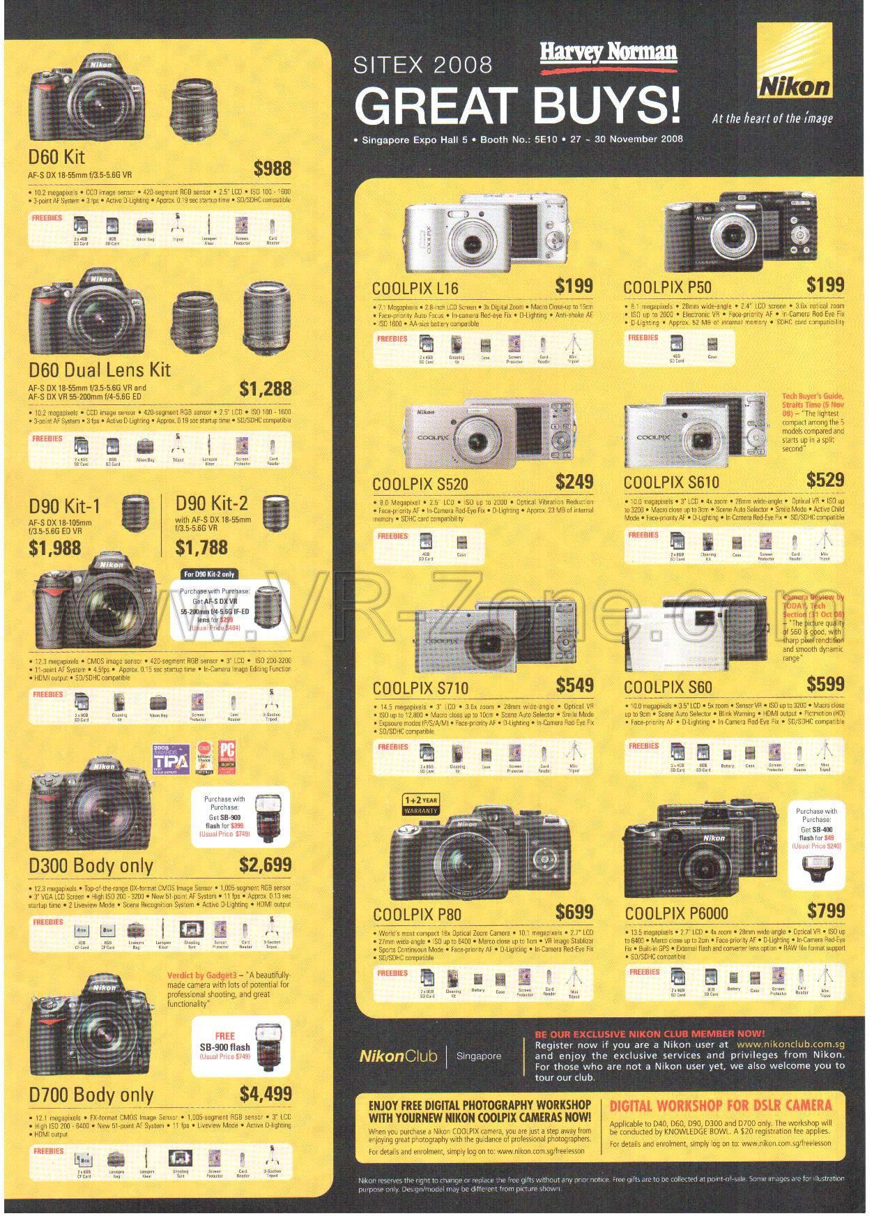 nikon cameras sitex 2008 price list brochure flyer image