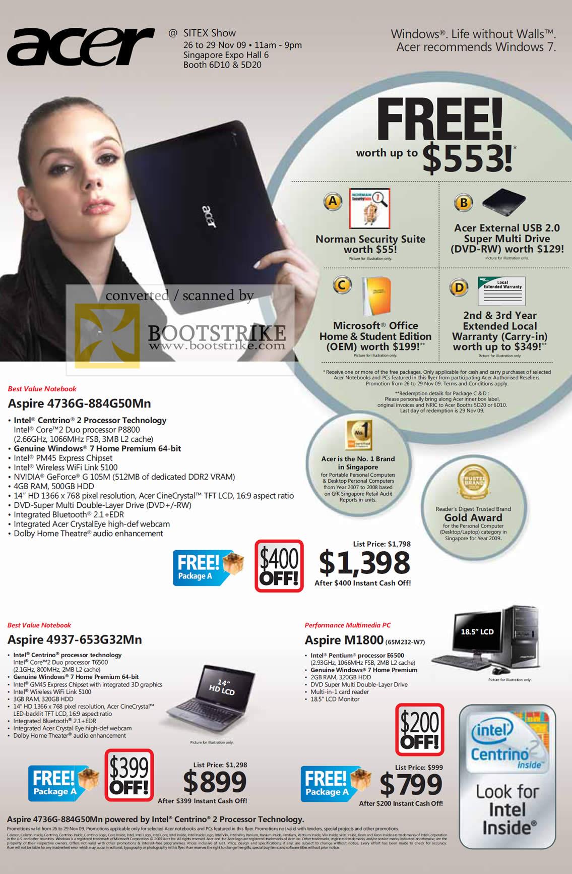 Sitex 2009 price list image brochure of Acer Aspire 4736G 4937 M1800 Notebook Desktop PC