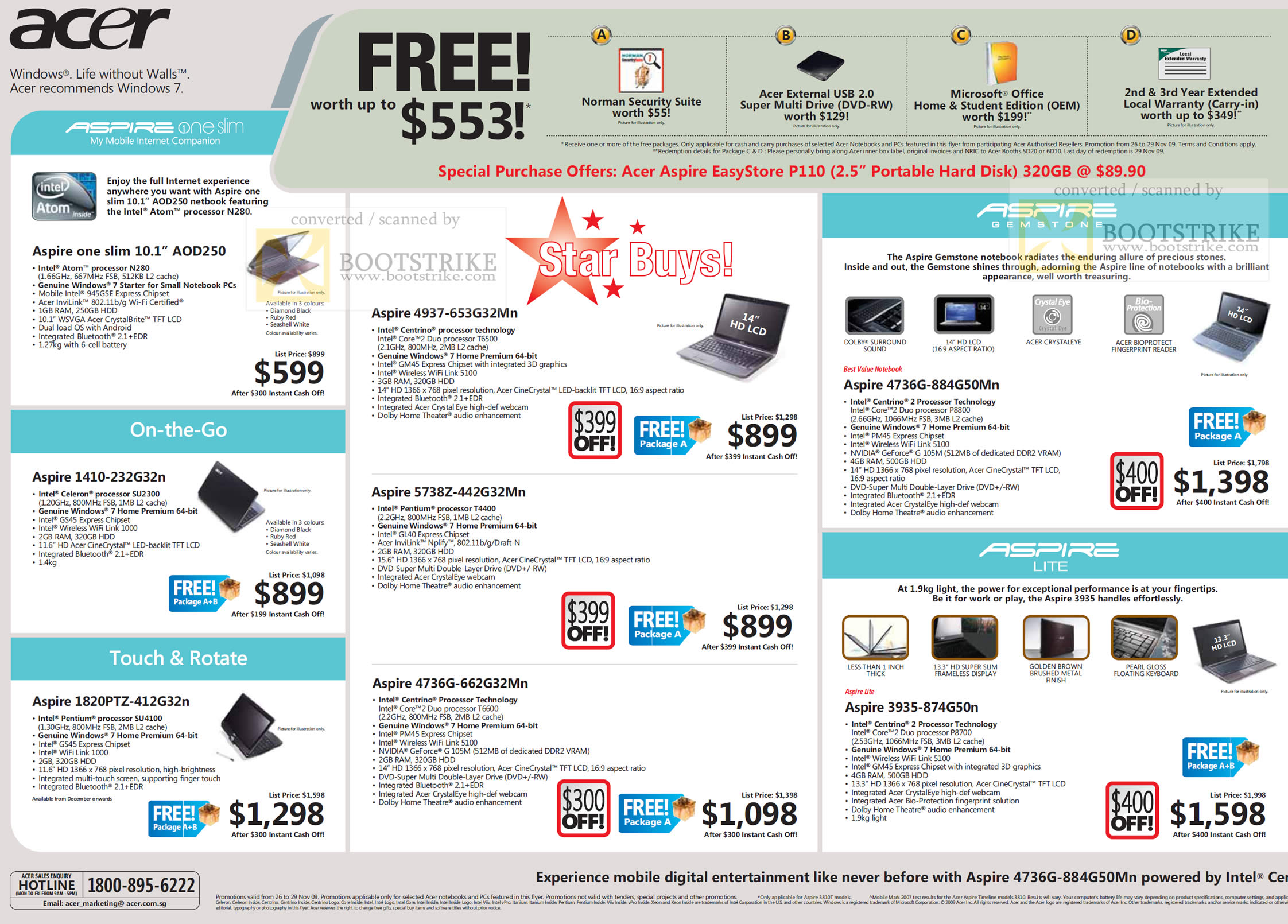 Sitex 2009 price list image brochure of Acer Aspire One Slim Touch Rotate Lite Gemstone EasyStore Notebooks