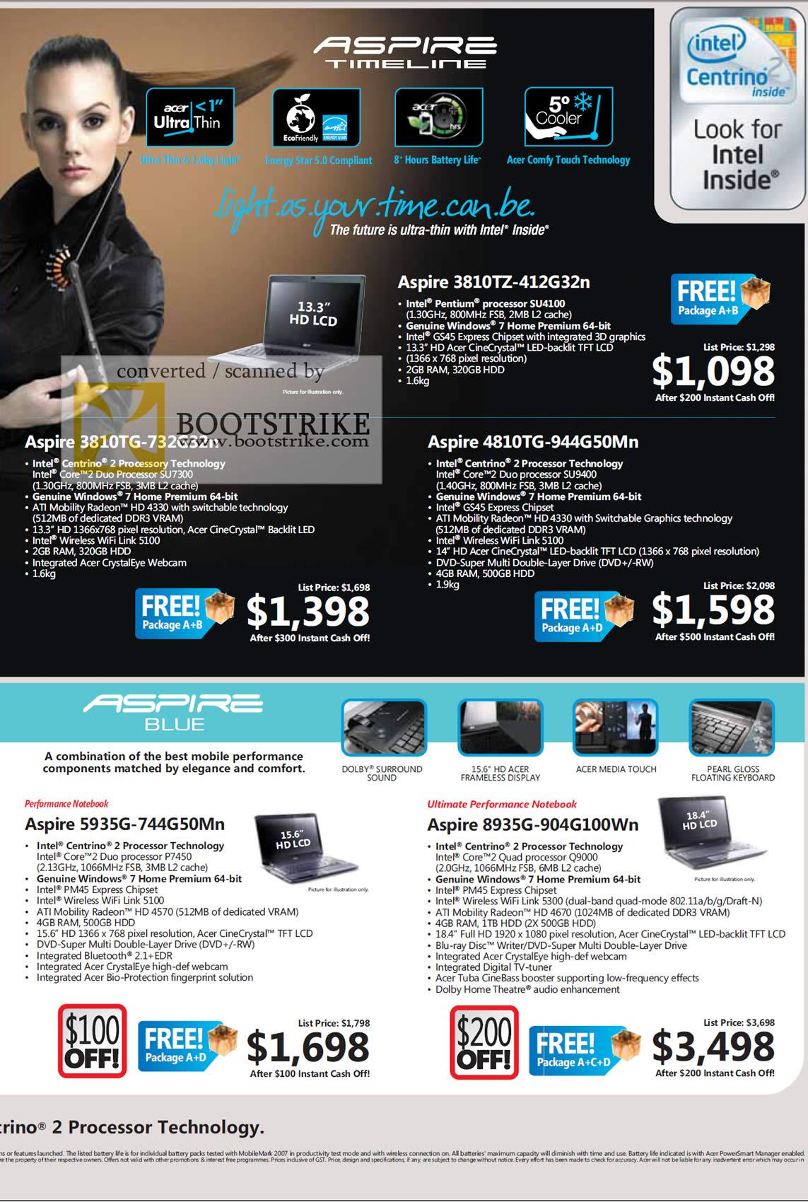 Sitex 2009 price list image brochure of Acer Aspire Timeline 3810TZ 4810TG 3810TG Blue 5935G 8935G