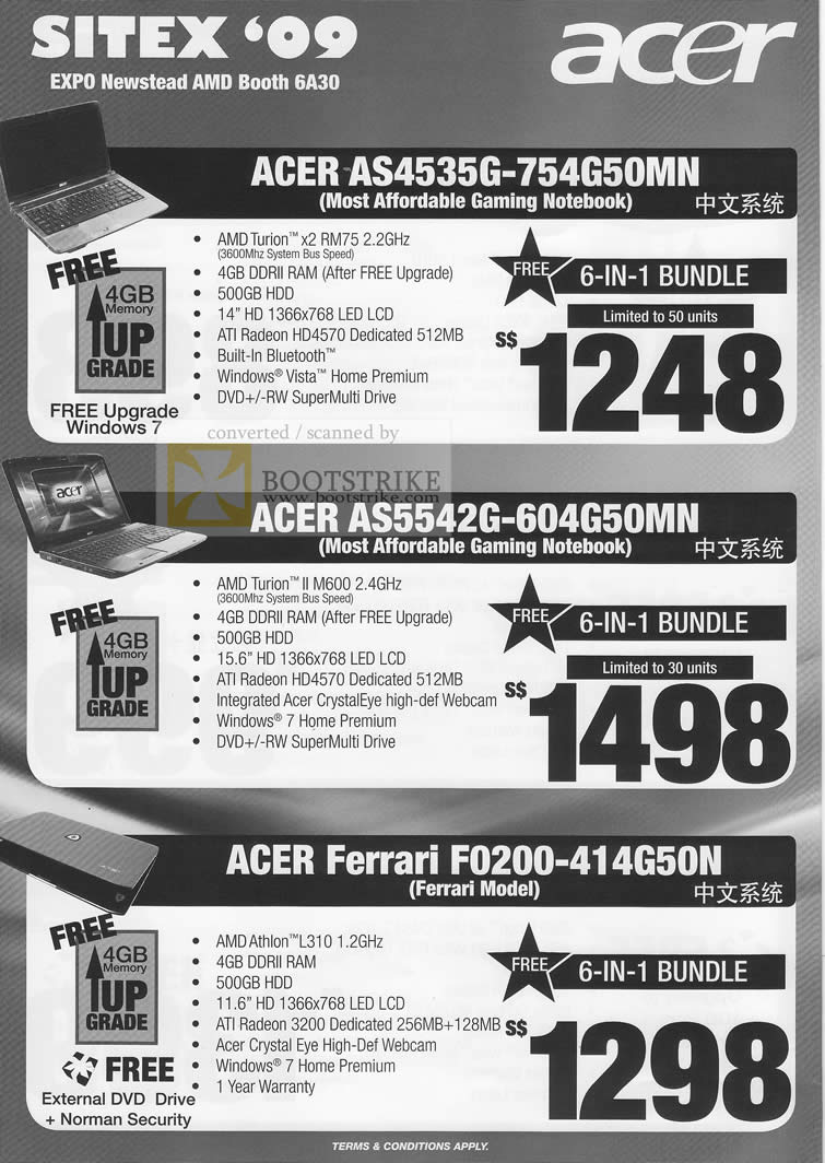 Sitex 2009 price list image brochure of Acer Notebooks AS4535G AS5542G Ferrari F0200 Newstead