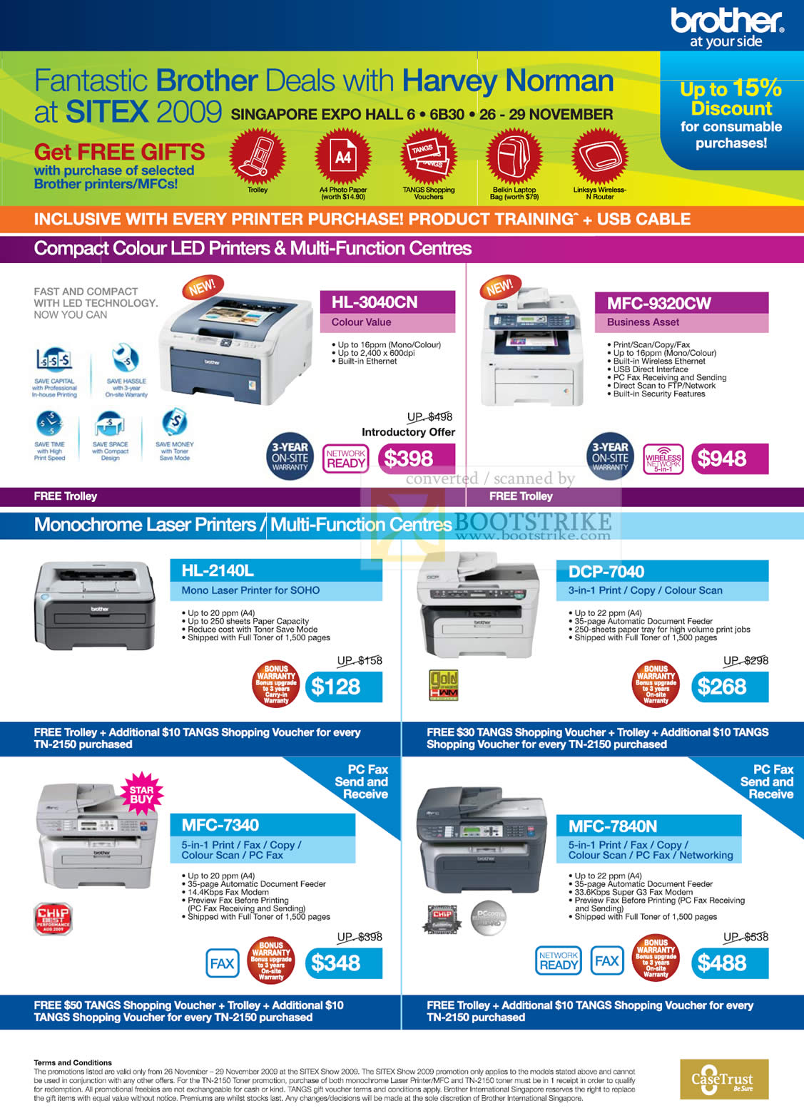Sitex 2009 price list image brochure of Brother Colour LED Printers Multi Function Laser Fax Scan Copy