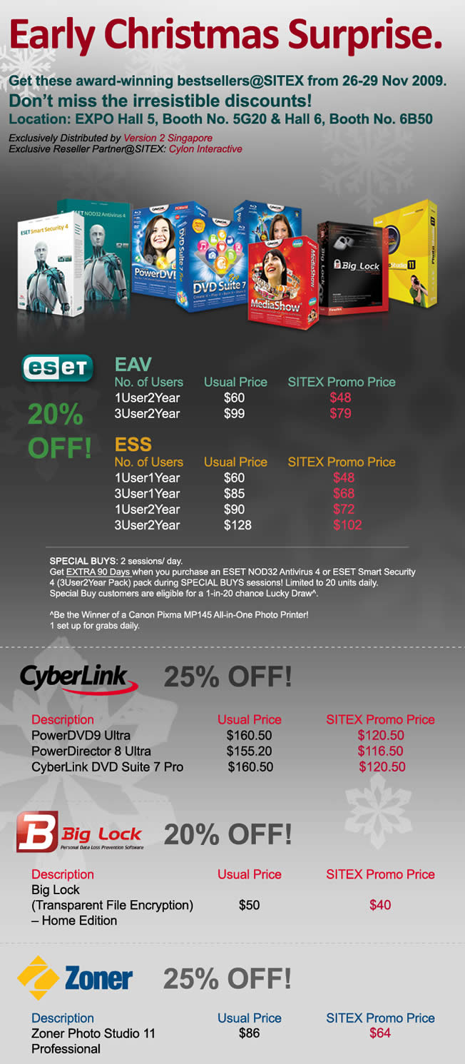Sitex 2009 price list image brochure of Cylon Eset Anti Virus Smart Security Cyberlink PowerDVD Big Lock Zoner