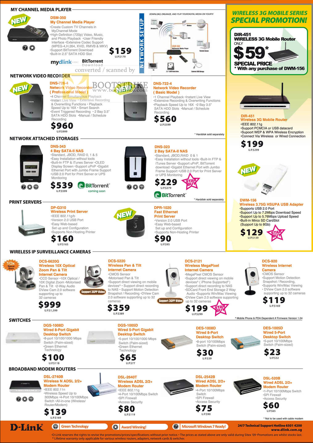 Sitex 2009 price list image brochure of D-Link Media Player Video Recorder NAS 3G Wireless Camera Switches Routers Modem