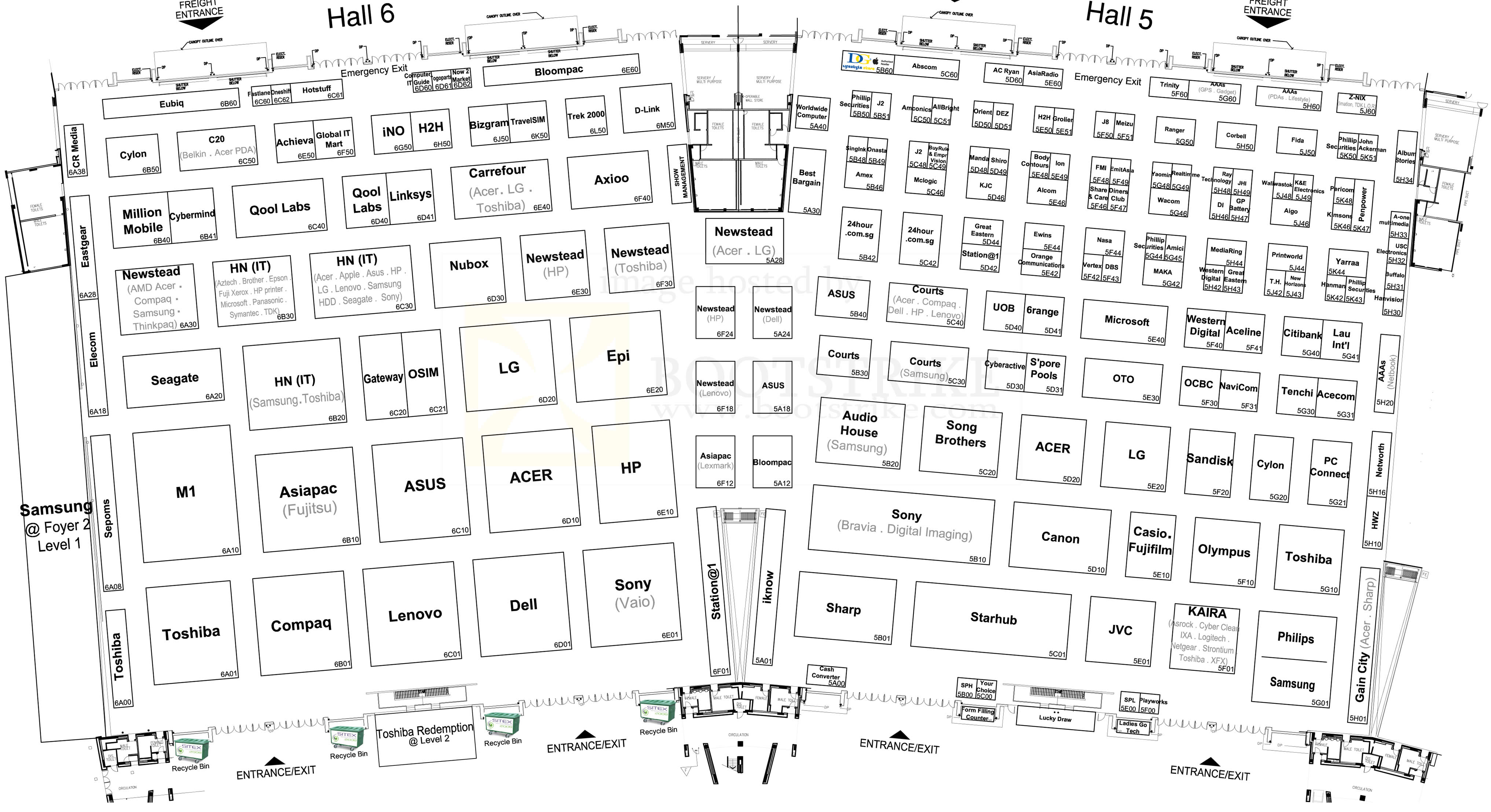 Sitex 2009 price list image brochure of Floor Plan Map Hall 5 Hall 6