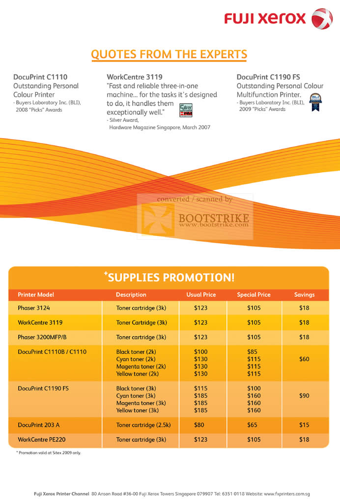 Sitex 2009 price list image brochure of Fuji Xerox Supplies Toner Cartridge Phase WorkCentre DocuPrint