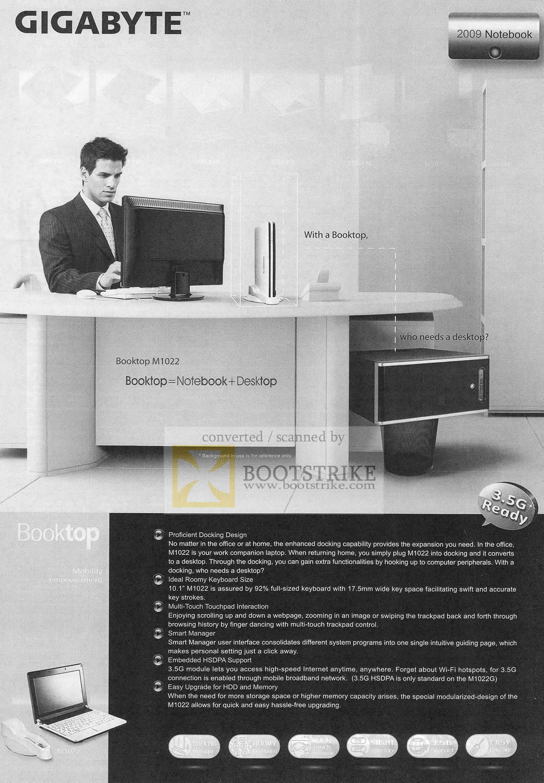 Sitex 2009 price list image brochure of Gigabyte Booktop M1022 Notebook Desktop Combo