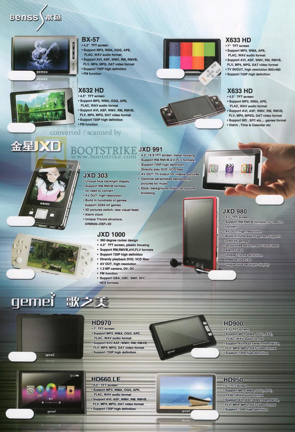 Sitex 2009 price list image brochure of Hai Xin Rui Portable Video Player PVP Benss BX 57 X633 X632 JXD 991 303 1000 980 Gemei