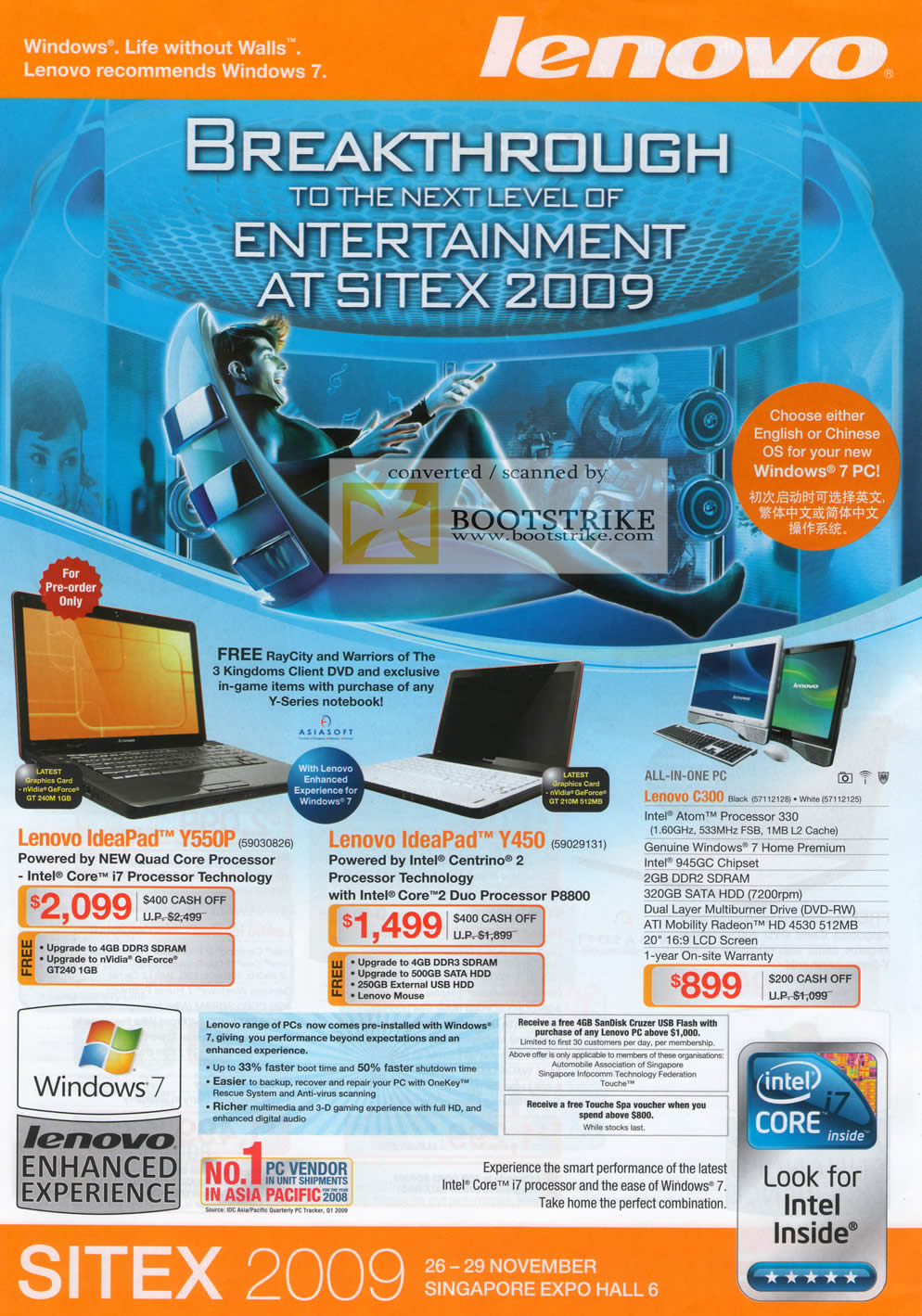 Sitex 2009 price list image brochure of Lenovo IdeaPad Notebooks Y550P Y450 C300 Desktop PC