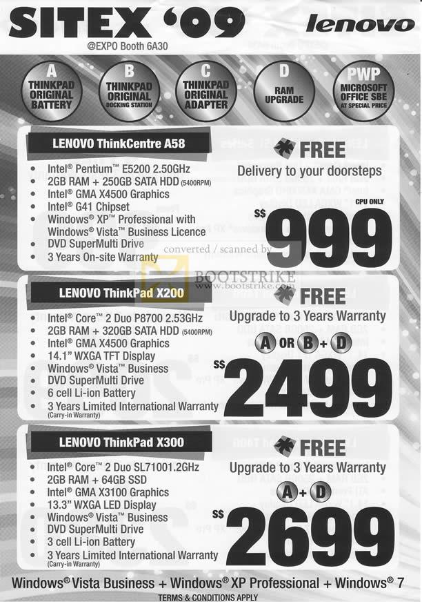 Sitex 2009 price list image brochure of Lenovo ThinkCentre A58 X200 X300 Notebooks Desktop PC