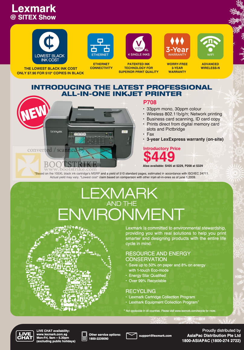 Sitex 2009 price list image brochure of Lexmark All In One Multi Function Inkjet Printer P708