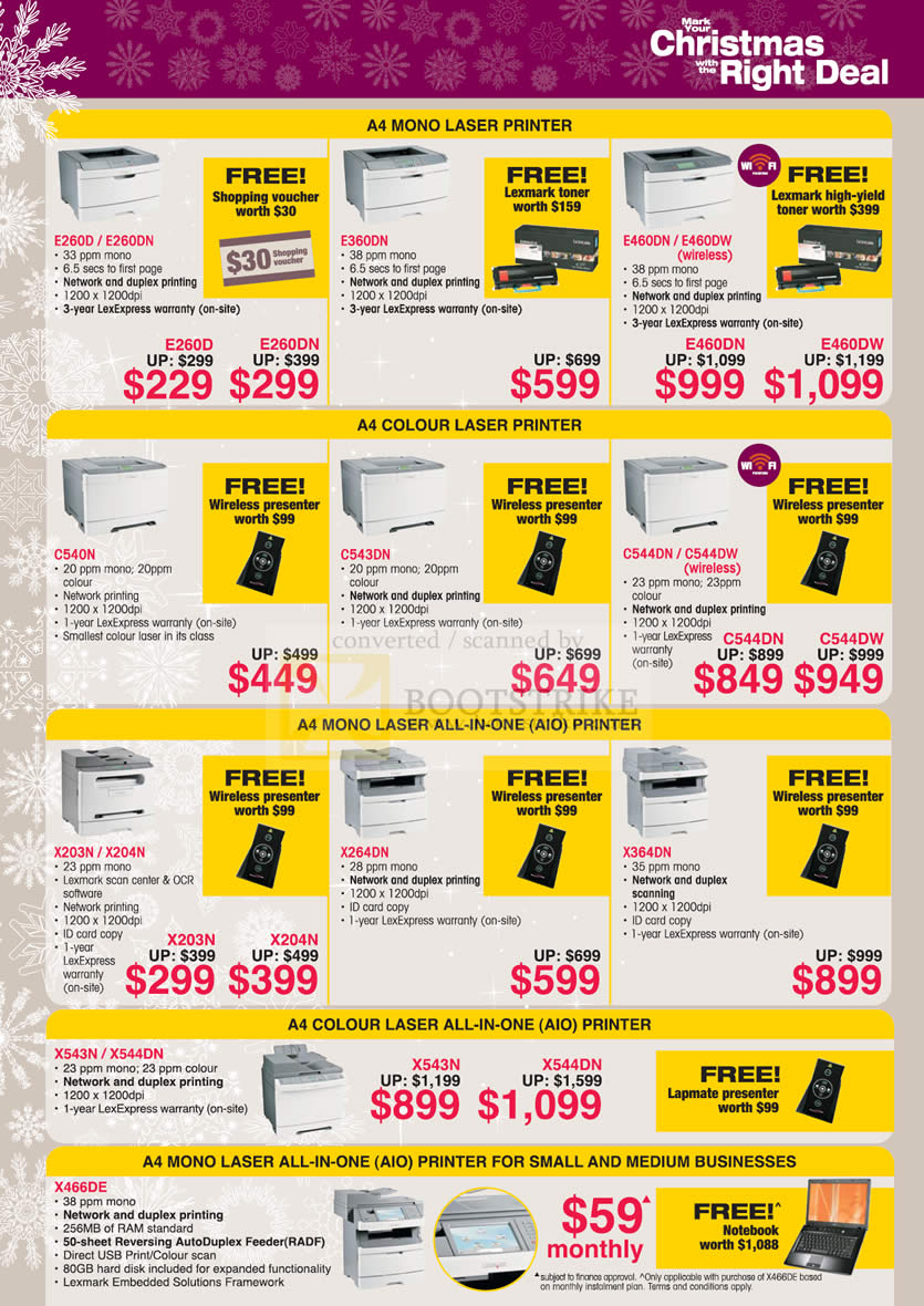 Sitex 2009 price list image brochure of Lexmark Laser Printers Mono Colour All In One Business
