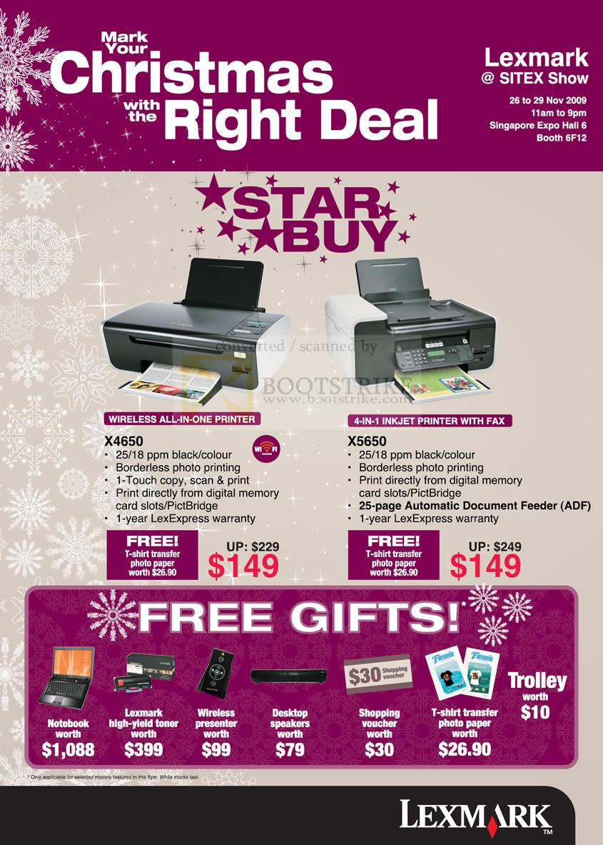 Sitex 2009 price list image brochure of Lexmark Wireless All In One Printer X4650 X5650 Inkjet Fax