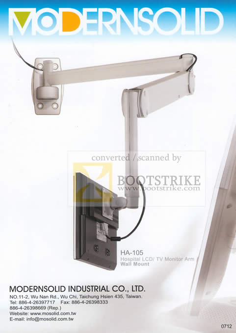 Sitex 2009 price list image brochure of ModernSolid Hospital LCD TV Monitor Arm Wall Mount HA 105