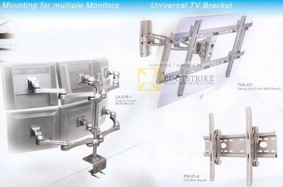 Sitex 2009 price list image brochure of ModernSolid Multiple Monitors Mount LA 518 1 Universal TV Bracket TVA 121 PW 21 6
