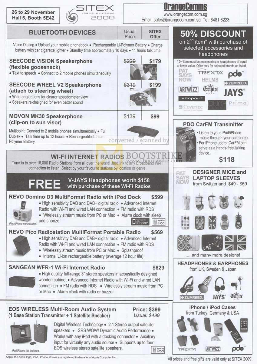 Sitex 2009 price list image brochure of OrangeComms Bluetooth Speakerphone Seecode Movon Wifi Internet Raido Revo Sangean