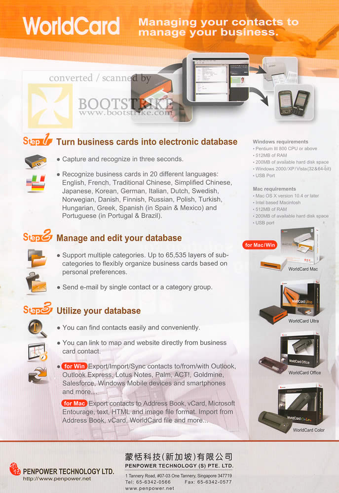 Sitex 2009 price list image brochure of PenPower WorldCard Business Cards Mac Ultra Office Color Database 2