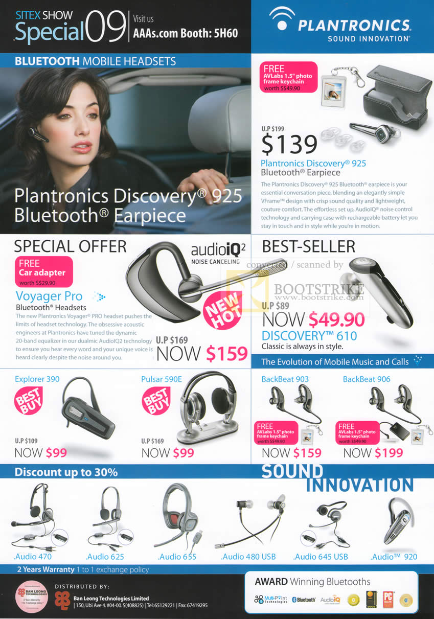 Sitex 2009 price list image brochure of Plantronics Bluetooth Headsets Discovery Explorer Pulsar Backbeat Voyager Pro