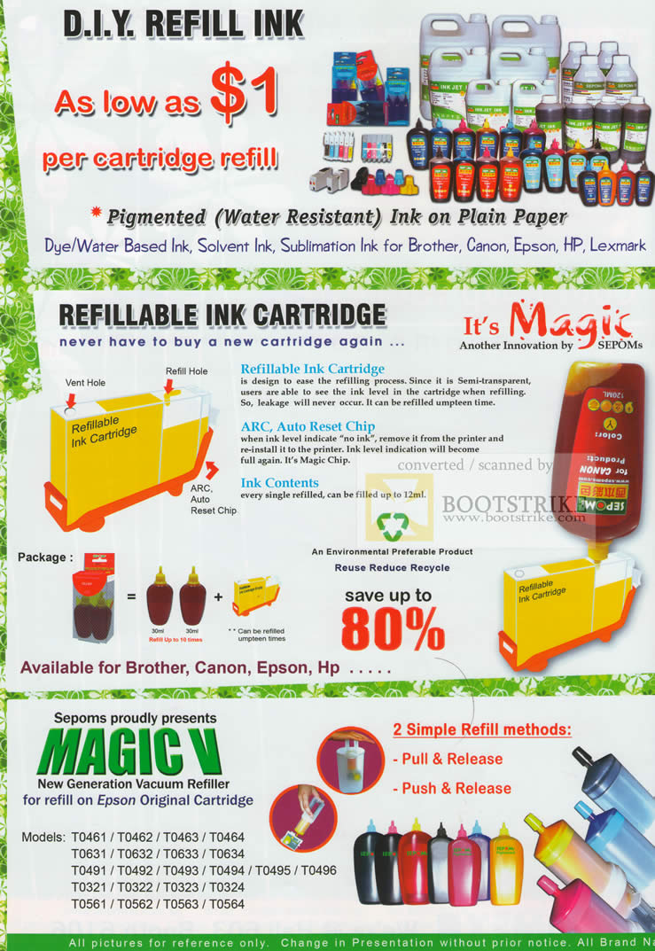 Sitex 2009 price list image brochure of SEPOMs DIY Refill Ink Refillable Ink Cartridge Magic V