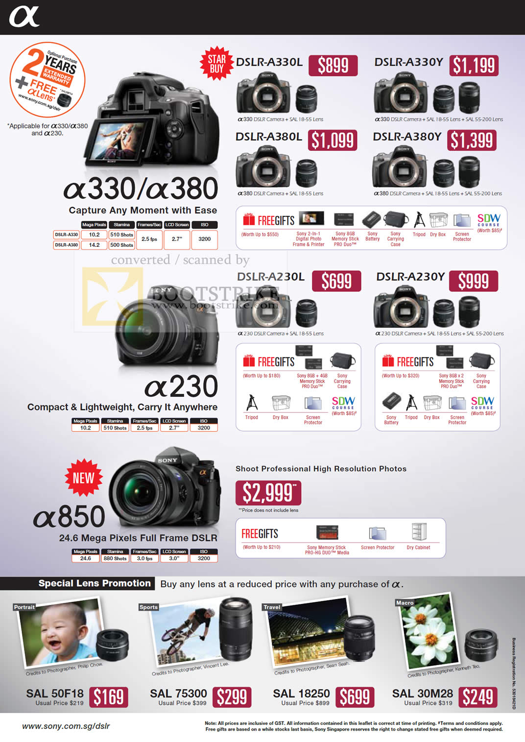 Camera Sony Dslr Camera Price List sony alpha digital dslr cameras a330 a380 a230 a850 lens sitex 2009 price list image brochure of a850