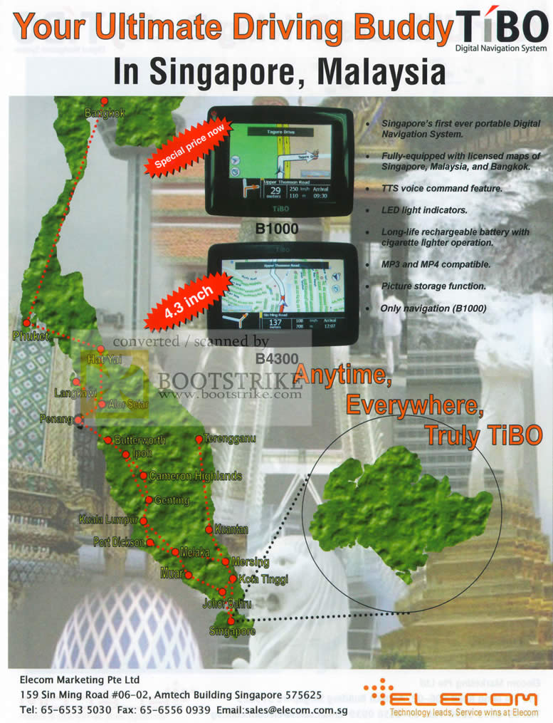 Sitex 2009 price list image brochure of Tibo B1000 B4300 GPS Navigation System Elecom