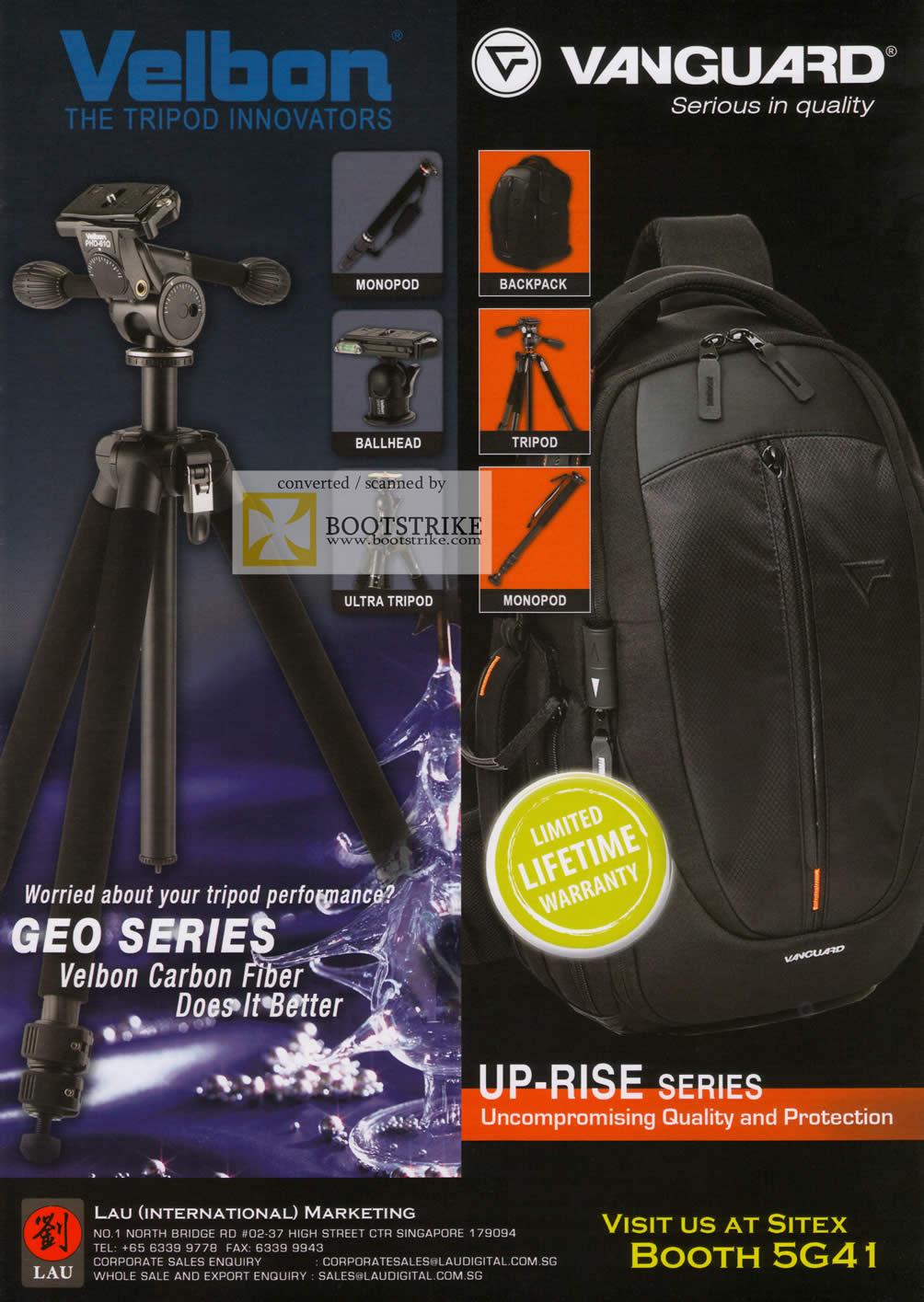 Sitex 2009 price list image brochure of Vanguard Velbon Monopod Backpack Ballhead Tripod